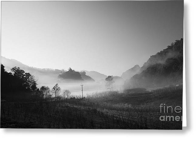 mist in the valley Greeting Card by Setsiri Silapasuwanchai