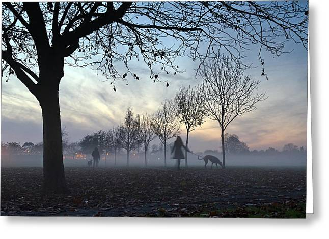 Dog Walker Greeting Cards - Misty afternoon in the park Greeting Card by Gary Eason