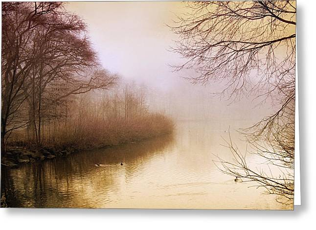 Pink Digital Greeting Cards - Misty Morn Greeting Card by Jessica Jenney