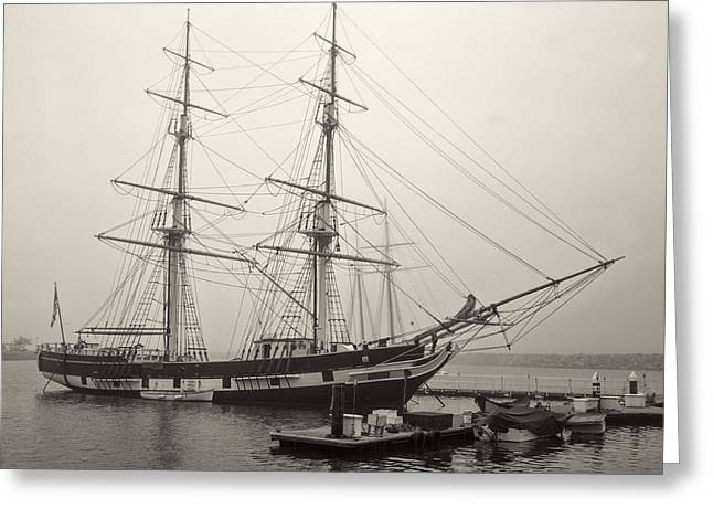 Historic Schooner Photographs Greeting Cards - Misty Morning Greeting Card by Cliff Wassmann