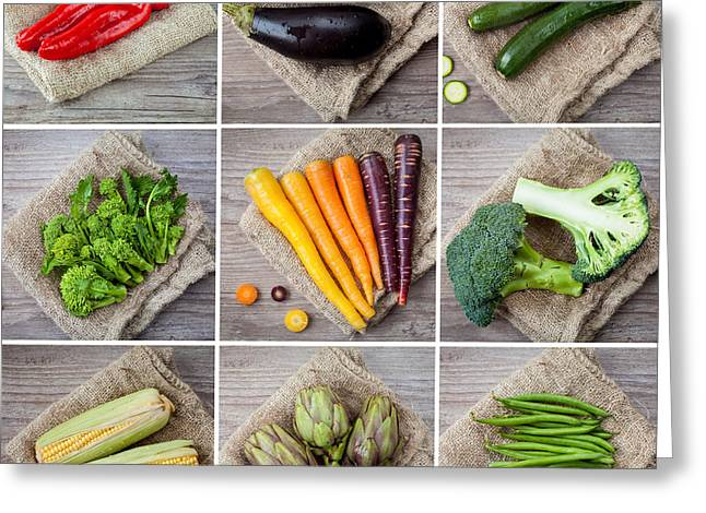 Mixed Vegetables Collage Greeting Card by Sabino Parente
