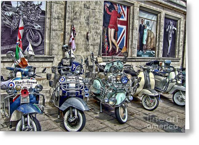 Mod scooters and 60s fashion Greeting Card by Jasna Buncic