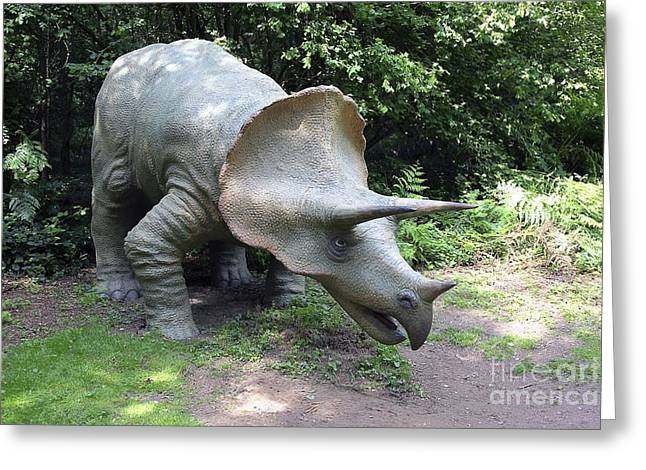Triceratops Greeting Cards - Model Triceratops Dinosaur Greeting Card by Victor de Schwanberg
