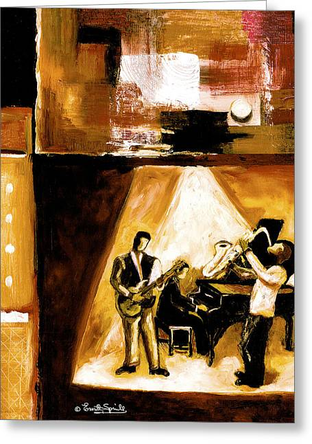 Everett Spruill Mixed Media Greeting Cards - Modern Jazz Number One Greeting Card by Everett Spruill