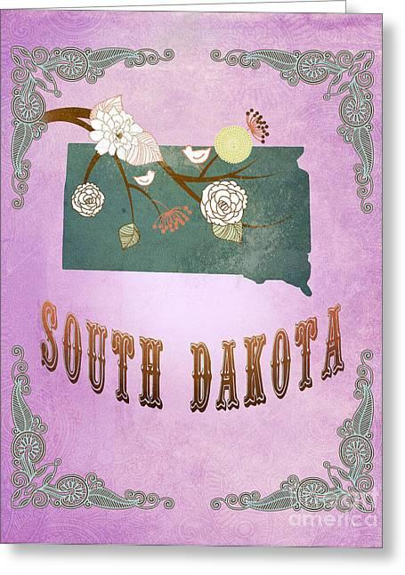 South Dakota Map Greeting Cards - Modern Vintage South Dakota State Map  Greeting Card by Joy House Studio