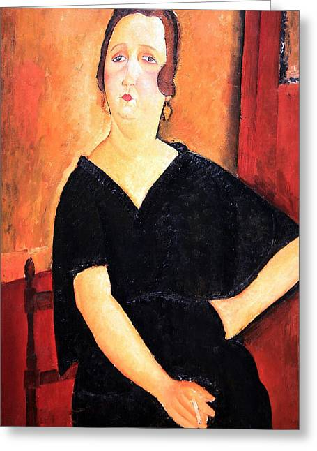Modigliani Photographs Greeting Cards - Modiglianis Madame Amedee -- Woman With Cigarette Greeting Card by Cora Wandel