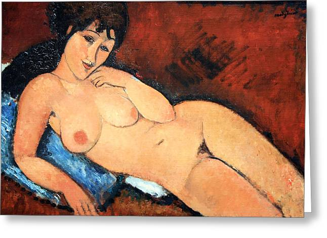 Modigliani Photographs Greeting Cards - Modiglianis Nude On A Blue Cushion Greeting Card by Cora Wandel