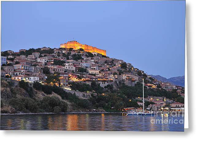 Port Greeting Cards - Molyvos village during dusk time Greeting Card by George Atsametakis