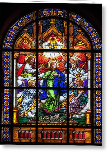 Art Glass Glass Art Greeting Cards - Monastery Stained Glass Greeting Card by Mountain Dreams