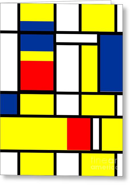 Geometric Style Greeting Cards - Mondrian Rectangles  Greeting Card by Celestial Images
