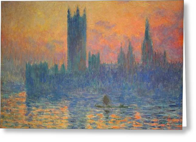 Photograph Of Painter Greeting Cards - Monets The Houses Of Parliament At Sunset Greeting Card by Cora Wandel