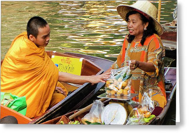 Buddhist Monks Greeting Cards - Monk at Market Greeting Card by Douglas J Fisher