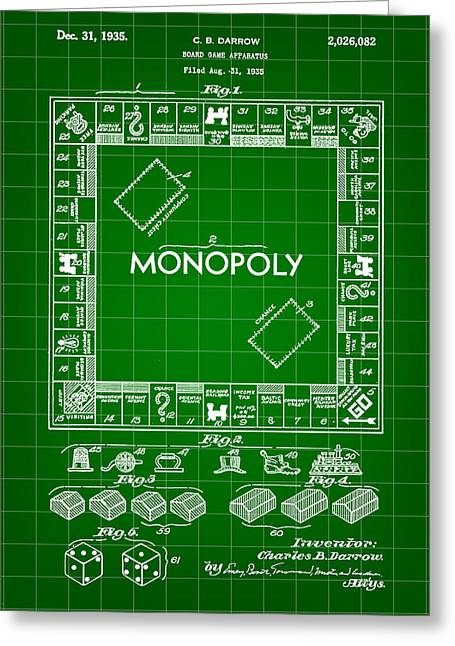 Monopoly Greeting Cards - Monopoly Patent 1935 - Green Greeting Card by Stephen Younts