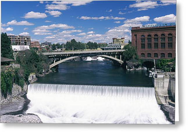 Monroe Street Bridge Across Spokane Greeting Card by Panoramic Images