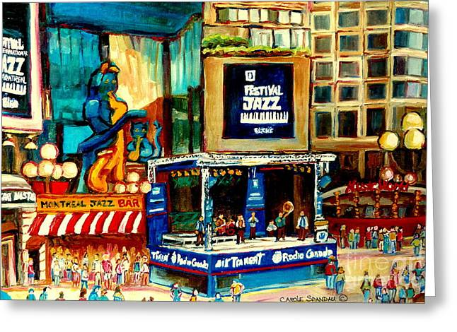 Canadian Culture Paintings Greeting Cards - Montreal International Jazz Festival Greeting Card by Carole Spandau