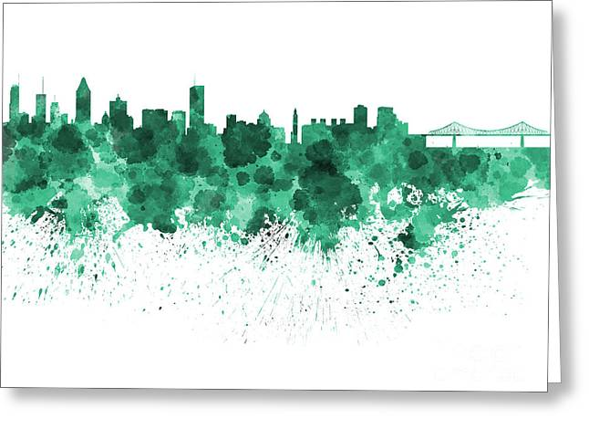 Montreal Landmarks Paintings Greeting Cards - Montreal skyline in watercolor on white background Greeting Card by Pablo Romero