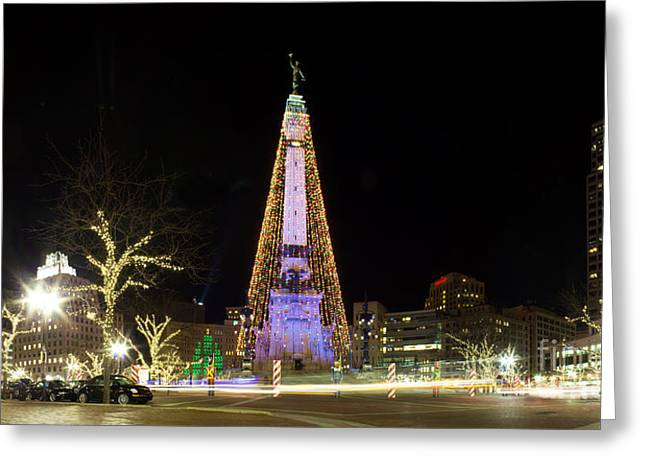 Indiana Trees Greeting Cards - Monument Circle at Christmas Greeting Card by Twenty Two North Photography