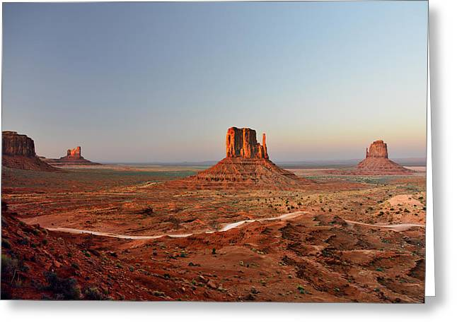 Left Greeting Cards - Monument Valley Greeting Card by Christine Till