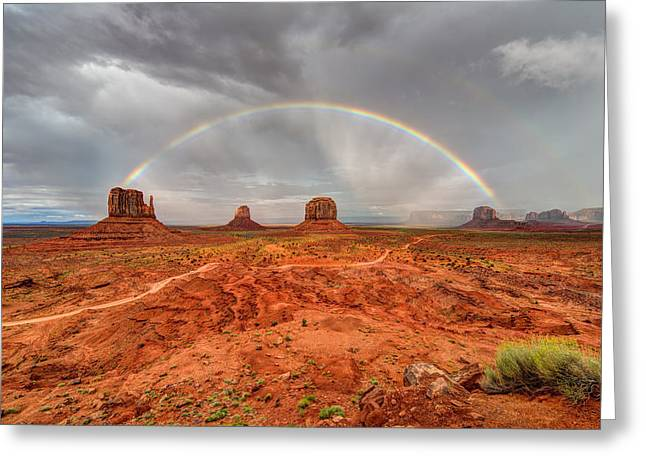 Beauty Mark Greeting Cards - Monument Valley Rainbow Greeting Card by Mark Whitt