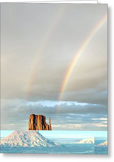 Double Rainbow Greeting Cards - Monument Valley, USA Greeting Card by Science Photo Library