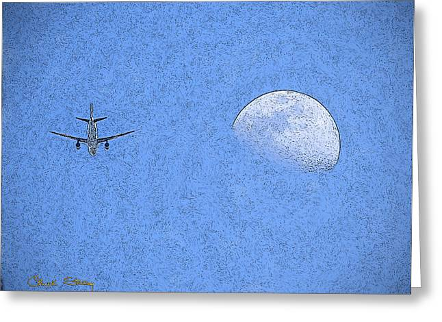 Chuck Staley Greeting Cards - Moon and Plane Greeting Card by Chuck Staley