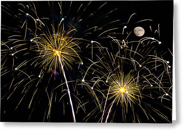 Pyrotechnics Greeting Cards - Moon over Golden Starburst- July Fourth - Fireworks Greeting Card by Penny Lisowski