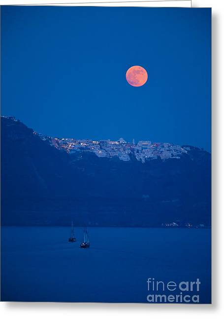 Sea Moon Full Moon Greeting Cards - Moon over Santorini Greeting Card by Brian Jannsen