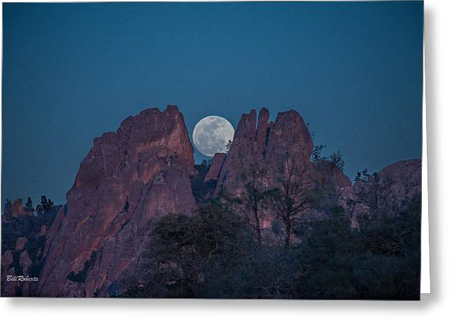 Moon Rise Greeting Cards - Moon Rise Pinnacles Greeting Card by Bill Roberts
