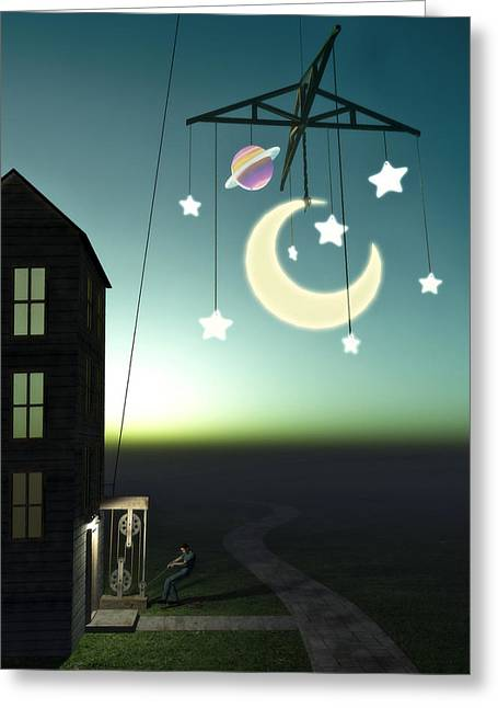 Saturn Greeting Cards - Moonrise Greeting Card by Cynthia Decker