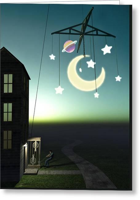 Moonrise Greeting Card by Cynthia Decker