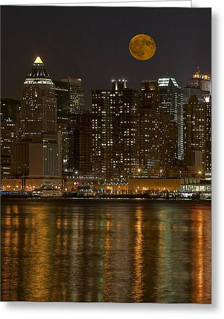 Moonrise Over Manhattan Greeting Card by Susan Candelario