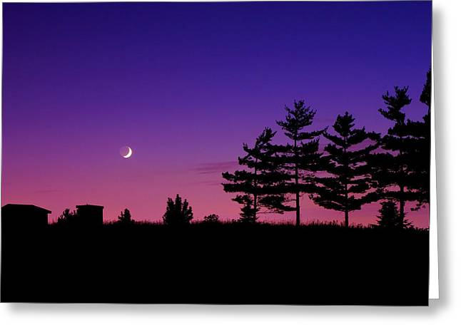 Wax Greeting Cards - Moonset Greeting Card by Cale Best