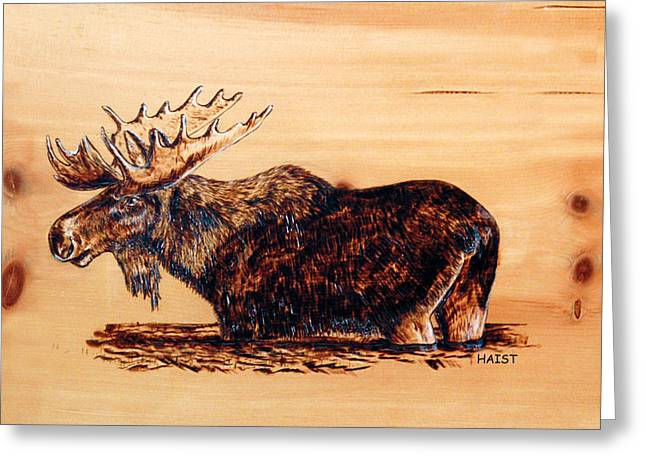 Wilderness Pyrography Greeting Cards - Moose Greeting Card by Ron Haist
