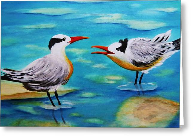 Tern Paintings Greeting Cards - Morning Chat Greeting Card by Barbie Baughman