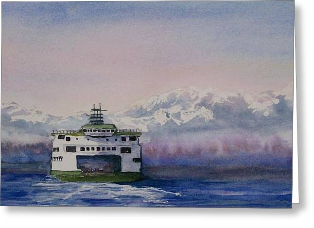 Bainbridge Island Greeting Cards - Morning Commute Greeting Card by Tamara Gonda