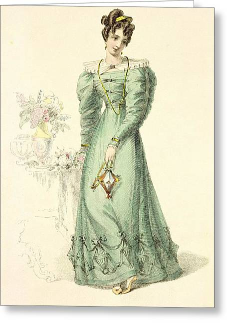 Long Sleeved Dress Greeting Cards - Morning Dress, Fashion Plate Greeting Card by English School