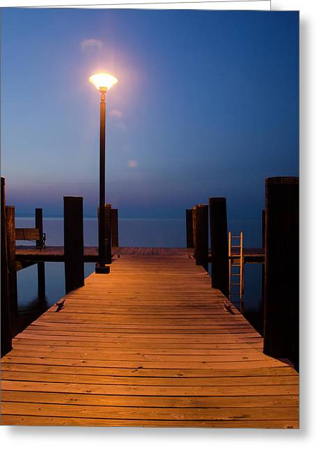 Best Sellers -  - Wooden Platform Greeting Cards - Morning on the Dock Greeting Card by Crystal Wightman