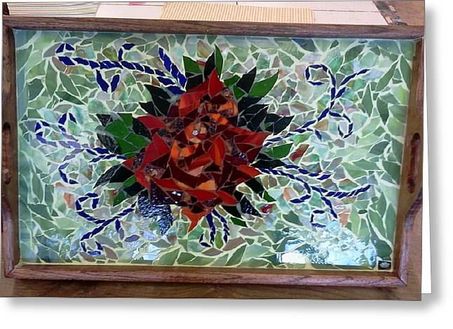 Green Leafs Glass Art Greeting Cards - Mosaic Rose Wooden Tray Greeting Card by Lisa Collinsworth