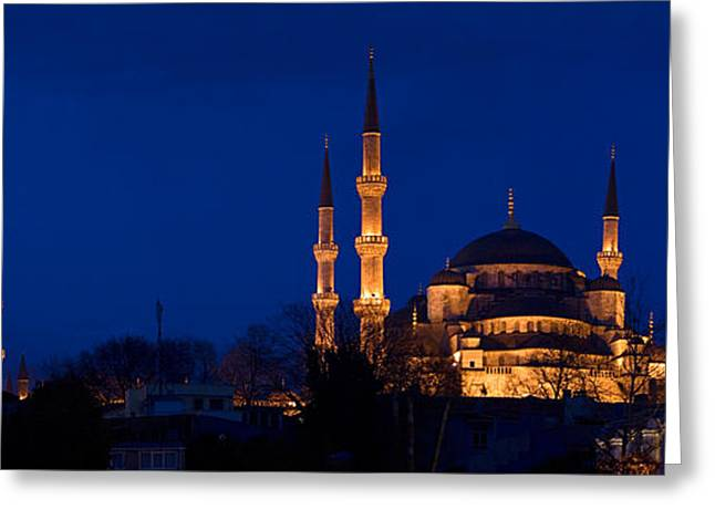 Illuminate Greeting Cards - Mosque Lit Up At Dusk, Blue Mosque Greeting Card by Panoramic Images