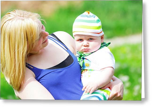 Mother And Baby Boy Greeting Card by Wladimir Bulgar