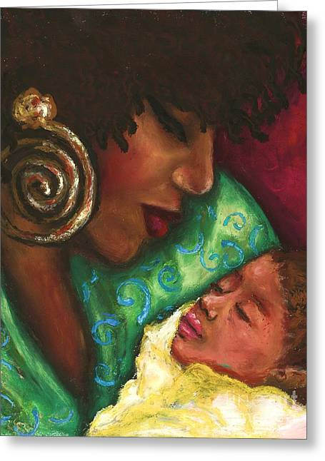 Green And Yellow Pastels Greeting Cards - Mother and Child Greeting Card by Alga Washington