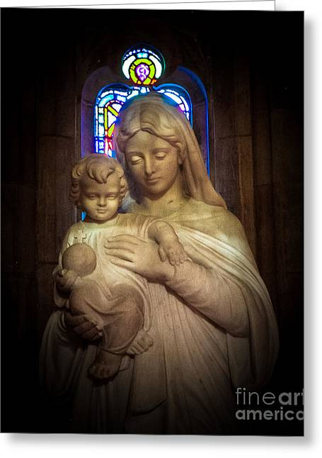 The Church Greeting Cards - Mother and Child Greeting Card by Grace Grogan