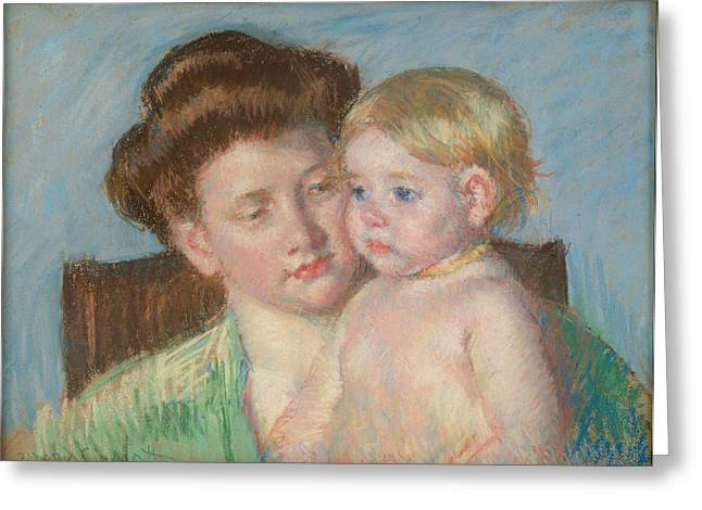 Self-portrait Greeting Cards - Mother And Child Greeting Card by Mary Cassatt
