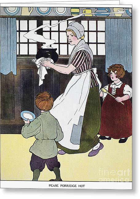 Porridge Greeting Cards - Mother Goose, 1916 Greeting Card by Granger