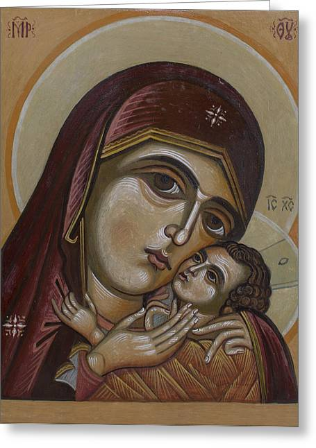 Icon Byzantine Greeting Cards - Mother of God Greeting Card by Anton Dimitrov
