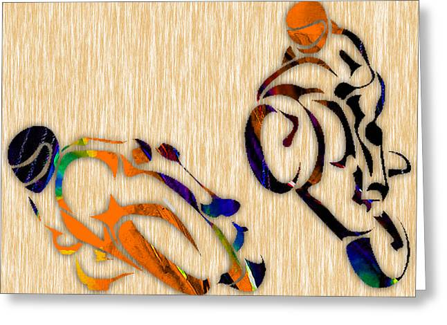 Bike Greeting Cards - Motorcycle Racing Greeting Card by Marvin Blaine