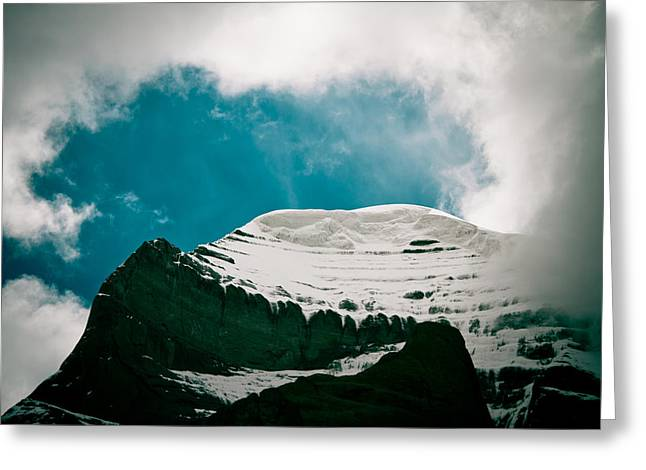 Tibetan Buddhism Greeting Cards - Mount Kailash western slope Home of the Lord Shiva Greeting Card by Raimond Klavins