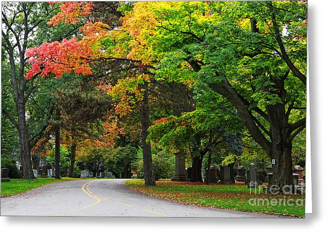 Graveyard Road Greeting Cards - Mount Pleasant Cemetery Greeting Card by Charline Xia
