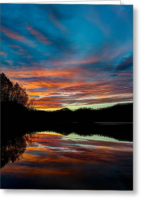 Fishing Creek Pyrography Greeting Cards - Mountain lake sunset Greeting Card by Anthony Heflin