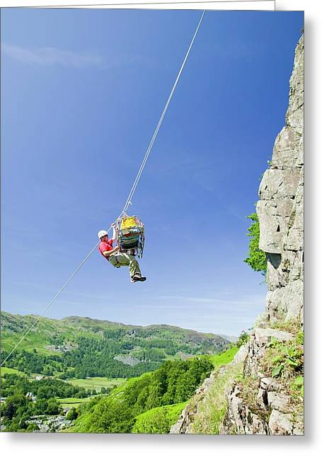 Mountain Rescue Training Greeting Card by Ashley Cooper
